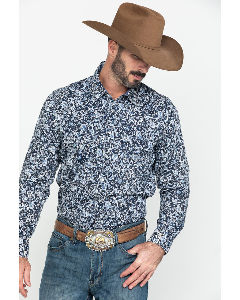 Rock & Rock Denim Men's Floral Print Long Sleeve Western Shirt , Black, hi-res