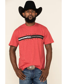 Cinch Men's Red Line Logo Graphic T-Shirt , Red, hi-res