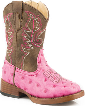 Roper Toddler Girls' Pink Ostrich Print Boots - Square Toe, Pink, hi-res