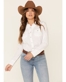 Ariat Women's White R.E.A.L Infamous Solid Long Sleeve Western Shirt , White, hi-res
