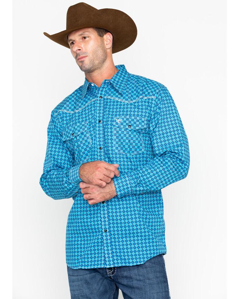 Cowboy Hardware Men's Print Long Sleeve Western Shirt , Blue, hi-res