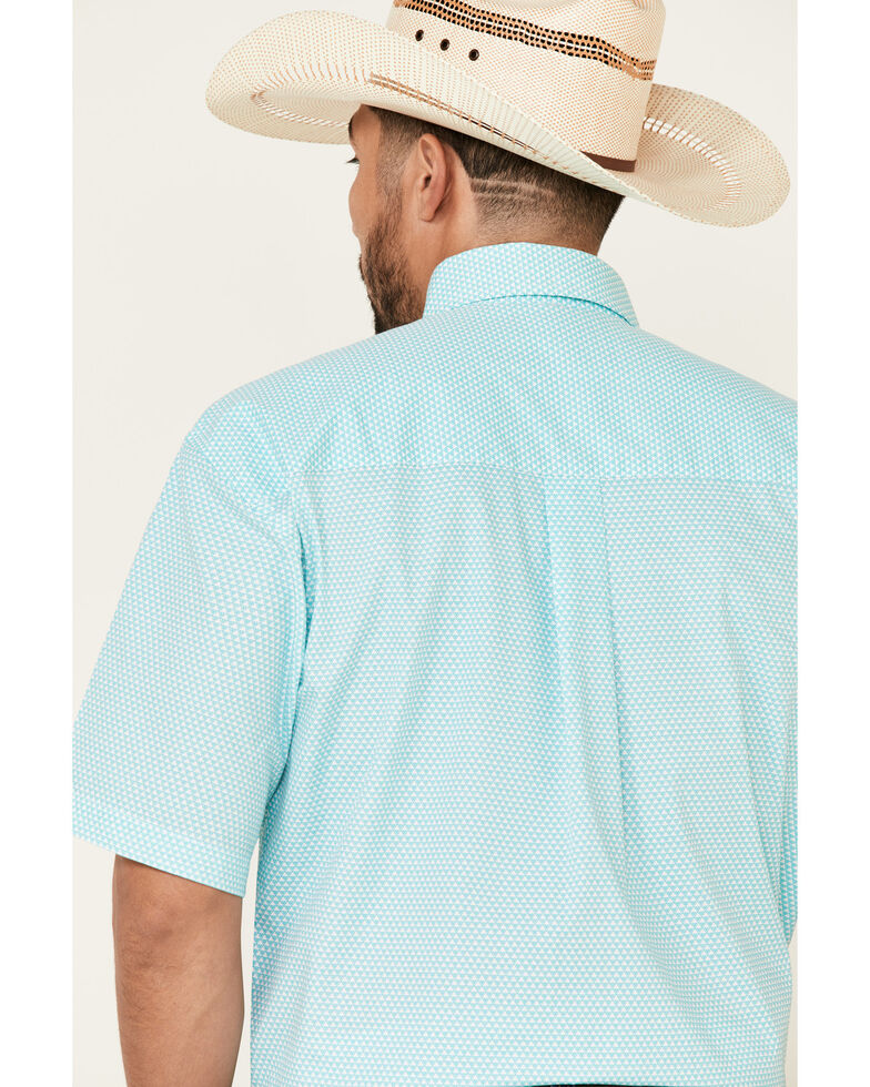 George Strait By Wrangler Men's White Small Geo Print Short Sleeve Button-Down Western Shirt - Big, White, hi-res