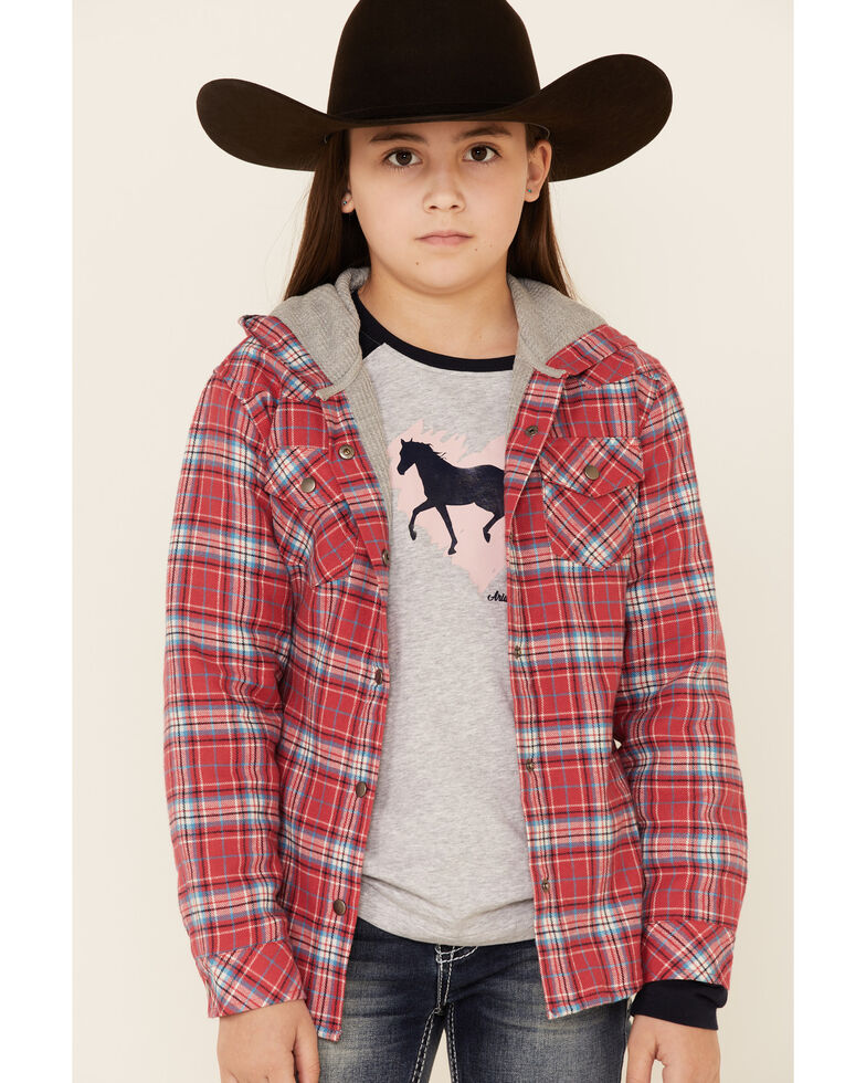 Roper Girls' Red Plaid Flannel Snap Hooded Shirt Jacket , Red, hi-res