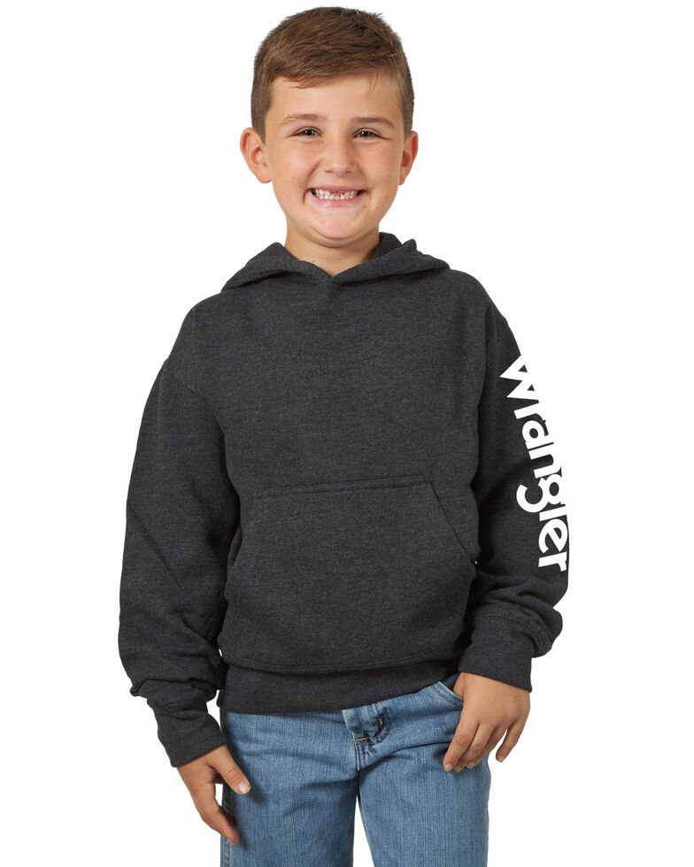 Wrangler Boys' Grey Logo Sleeve Graphic Hooded Sweatshirt , Grey, hi-res