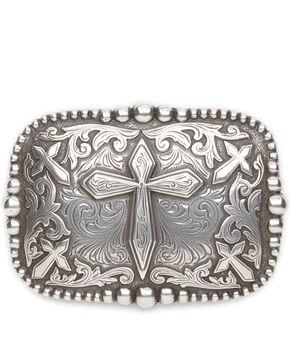 AndWest Men's Antique Silver Cross Belt Buckle, Silver, hi-res