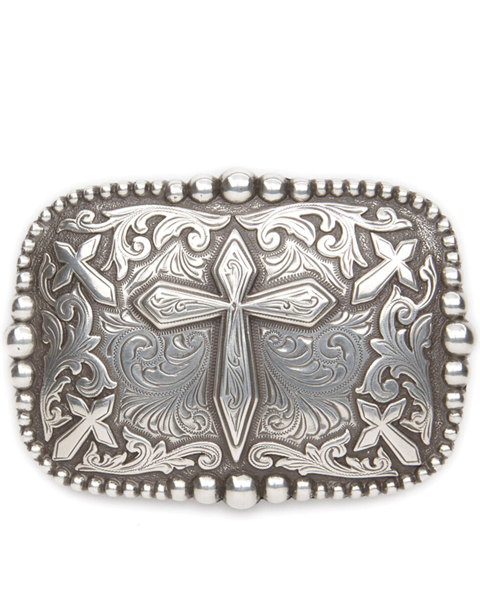 AndWest Men's Antique Silver Cross Belt Buckle, Silver, hi-res