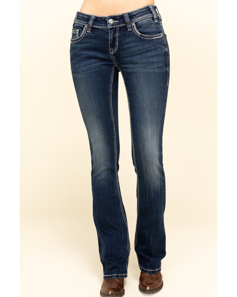 Rock & Roll Cowgirl Women's Dark Rival Low Rise Bootcut Jeans , Blue, hi-res
