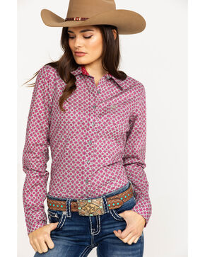 Cinch Women's Diamond Geo Print Logo Long Sleeve Western Shirt , Multi, hi-res