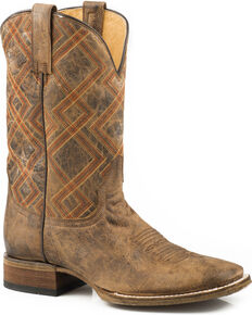 Roper Men's Nash Vintage Brown Geo Embroidered Cowboy Boots - Square Toe, Brown, hi-res