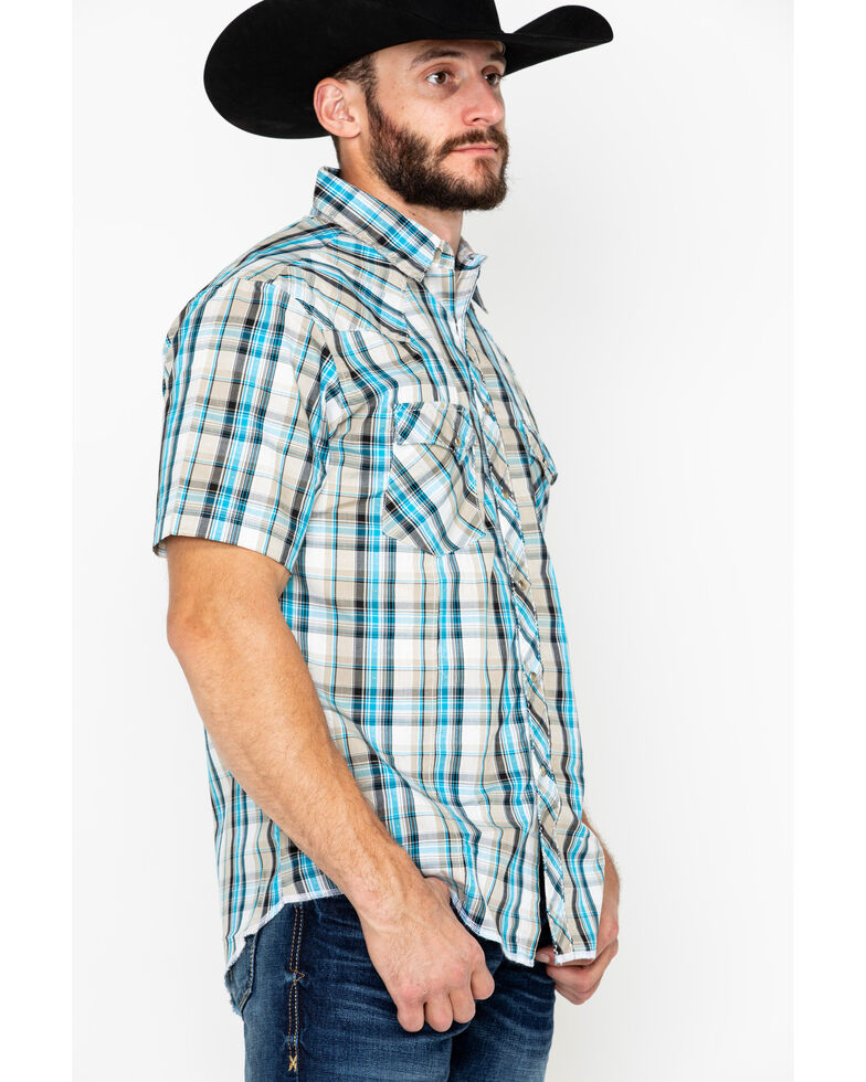 Wrangler Men's Fashion Snap Plaid Short Long Western Shirt, Beige/khaki, hi-res