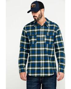 Hawx® Men's Blue Lineman Plaid Stretch Flannel Long Sleeve Work Shirt , Blue, hi-res