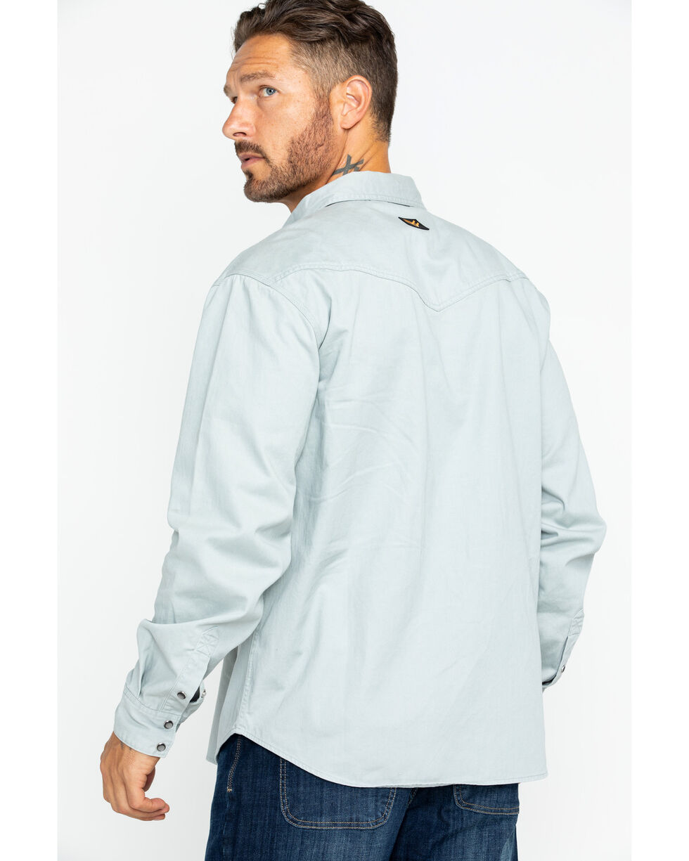 Hawx® Men's Twill Snap Western Work Shirt , Grey, hi-res