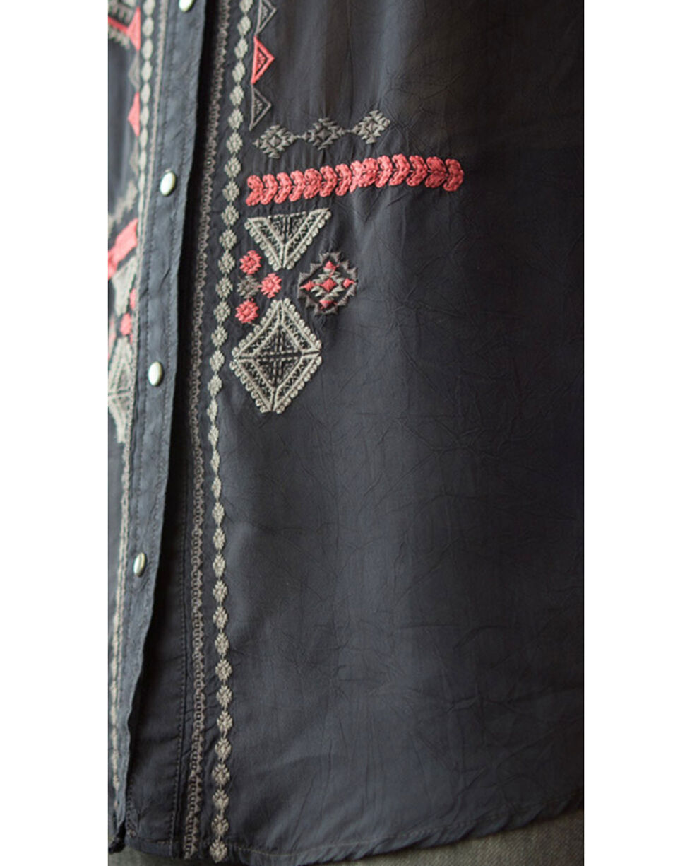 Ryan Michael Women's Embroidered Cupra Rayon Tunic, Black, hi-res