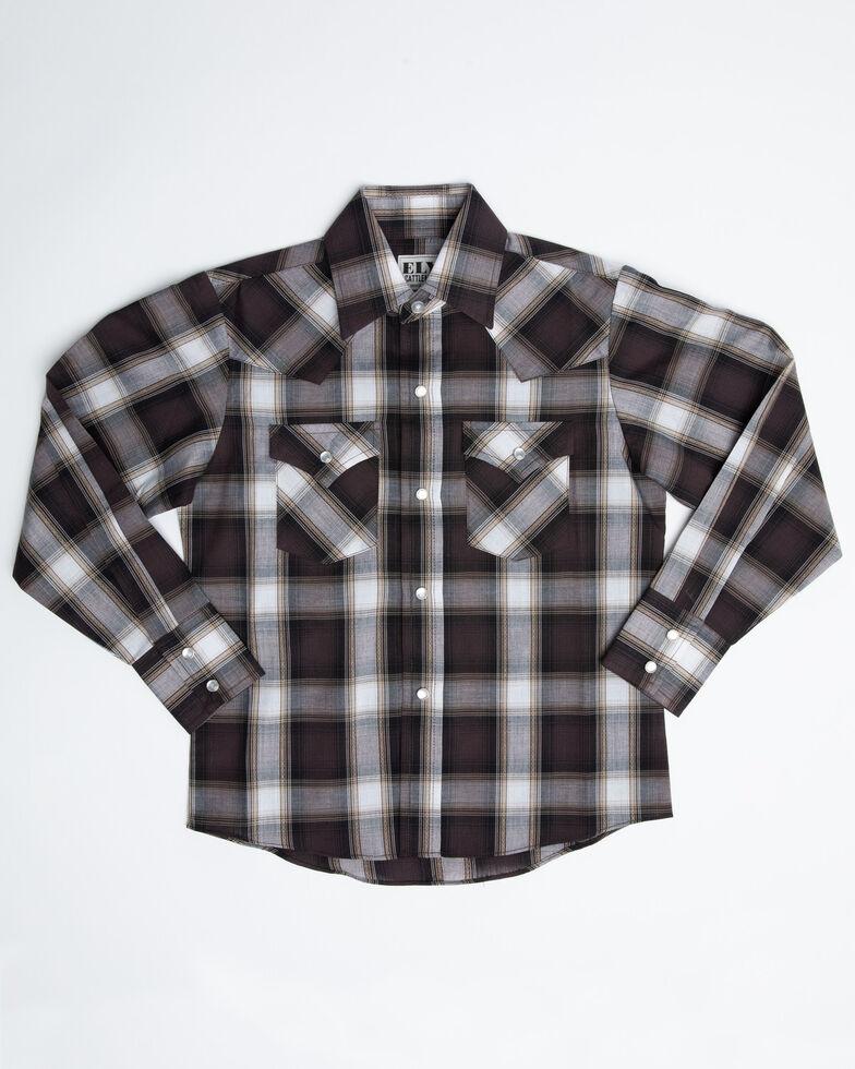 Ely Cattleman Boys' Assorted Multi Textured Dobby Plaid Long Sleeve Western Shirt, Multi, hi-res