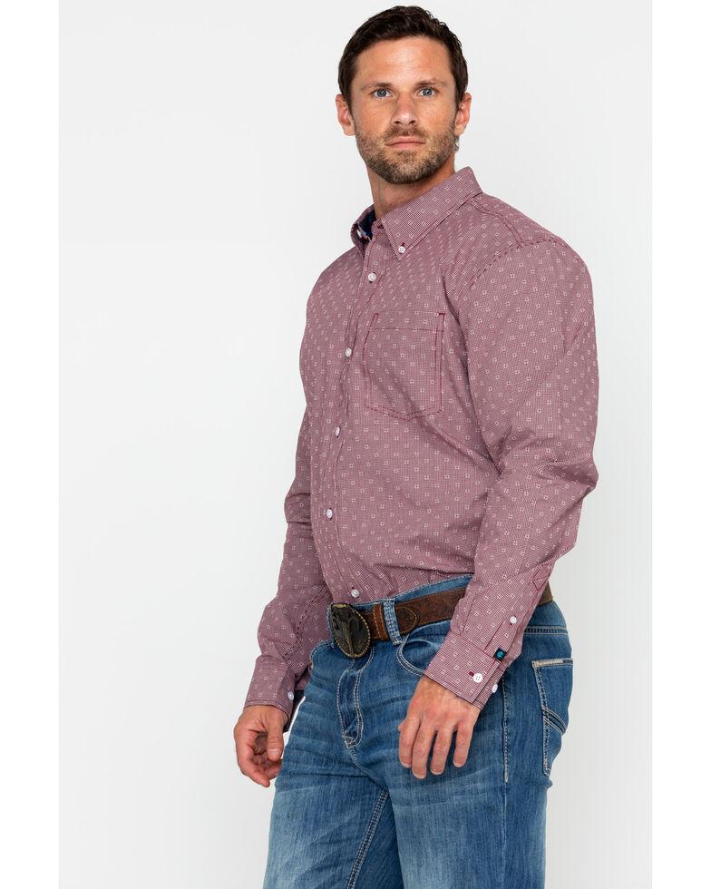 Cody James Core Men's North Star Geo Print Long Sleeve Western Shirt , Maroon, hi-res