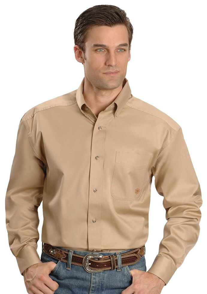 Ariat Men's Khaki Solid Twill Long Sleeve Western Shirt , Khaki, hi-res