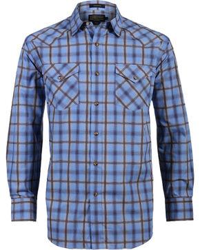 Pendleton Men's Ombre Plaid Long Sleeve Western Shirt, Brown/blue, hi-res