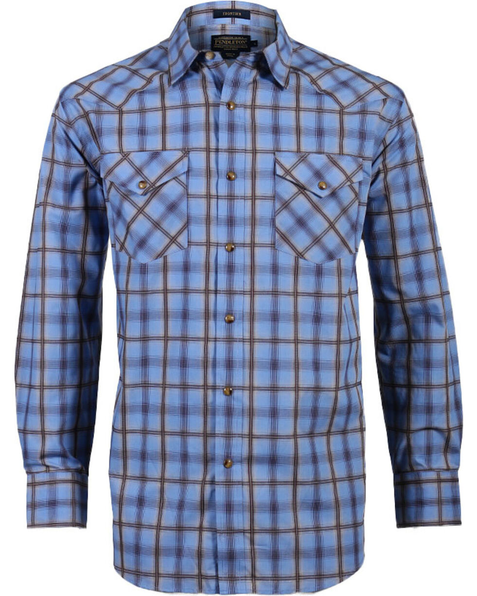 Pendleton Men's Ombre Plaid Long Sleeve Western Shirt, Brown/blue, hi-res