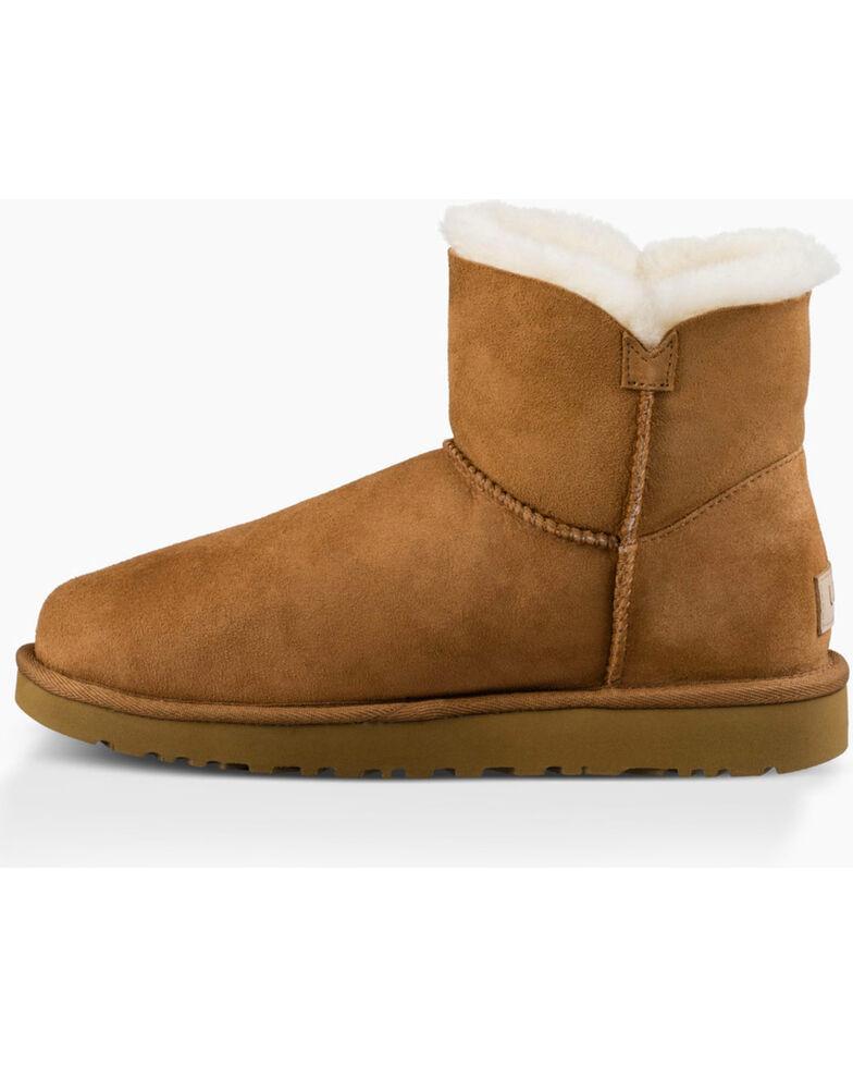 UGG Women's Chestnut Mini Bailey Button II Boots - Round Toe , Chestnut, hi-res