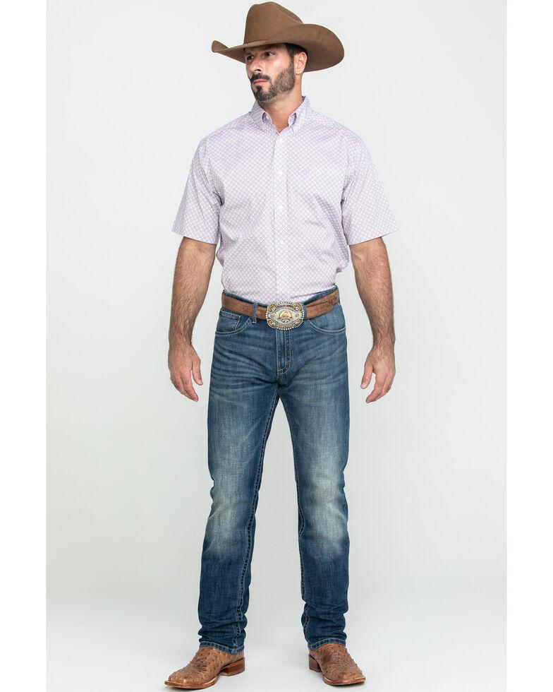 Ariat Men's Fallston Multi Stretch Geo Print Short Sleeve Western Shirt , Multi, hi-res