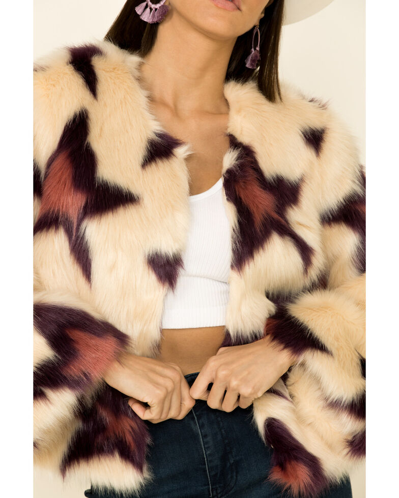Band Of Gypsies Women's Ivory Star Faux Fur Jacket , Ivory, hi-res