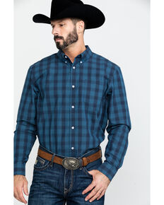 Cody James Core Men's Taladega Small Plaid Long Sleeve Western Shirt , Blue, hi-res