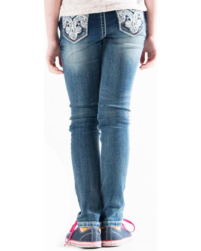 Grace in LA Girls' (7-16) Scroll Pocket Jeans - Skinny , Indigo, hi-res