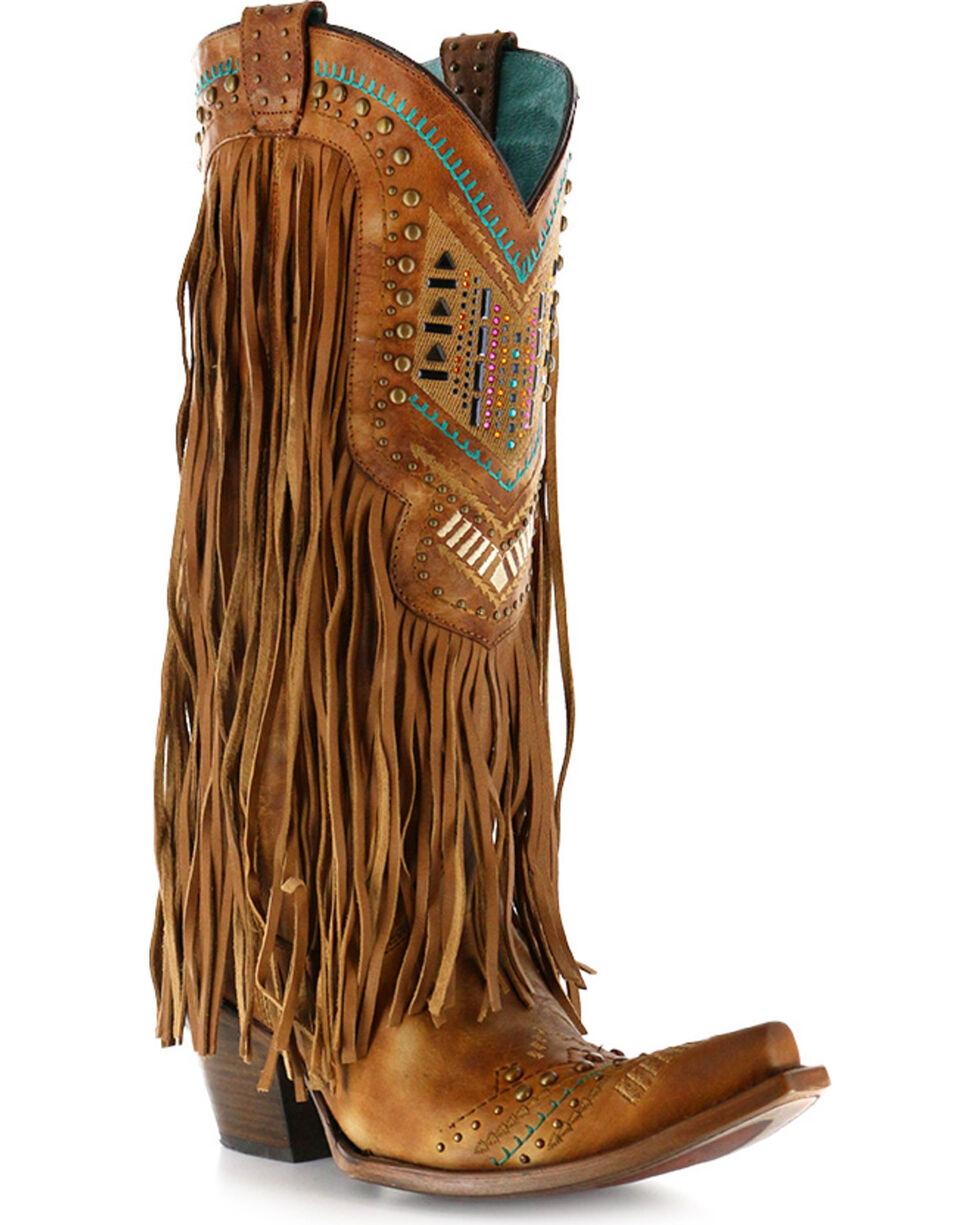 Corral Women's Aztec & Fringe Cowgirl Boots - Snip Toe, Tan, hi-res