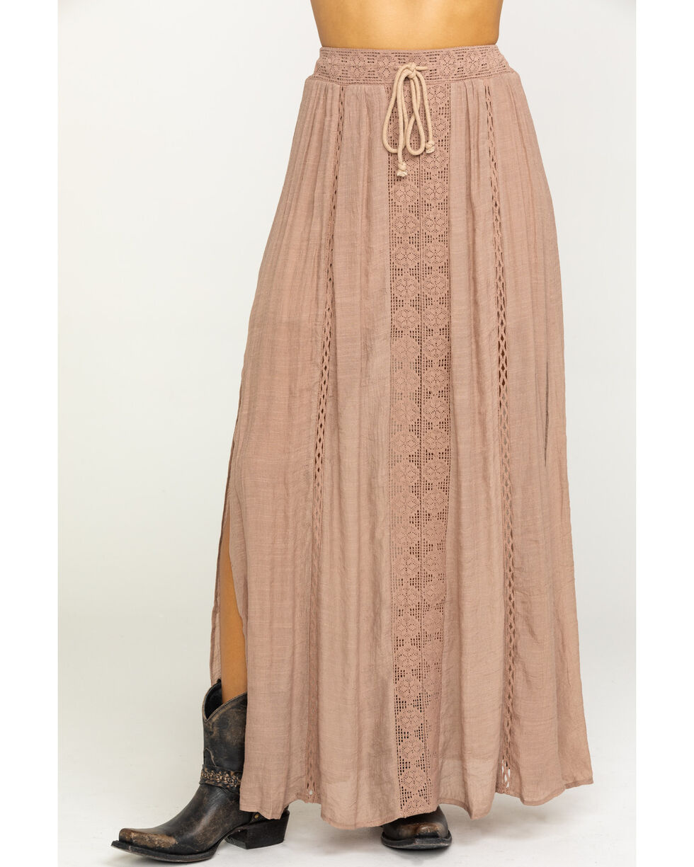 HYFVE Women's Long Lace Solid Maxi Skirt , Taupe, hi-res