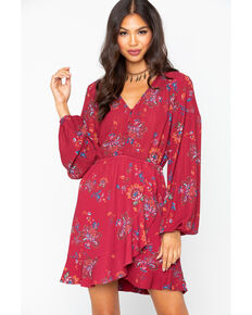 Miss Me Women's Floral Button Front Ruffle Long Sleeve Dress, Burgundy, hi-res