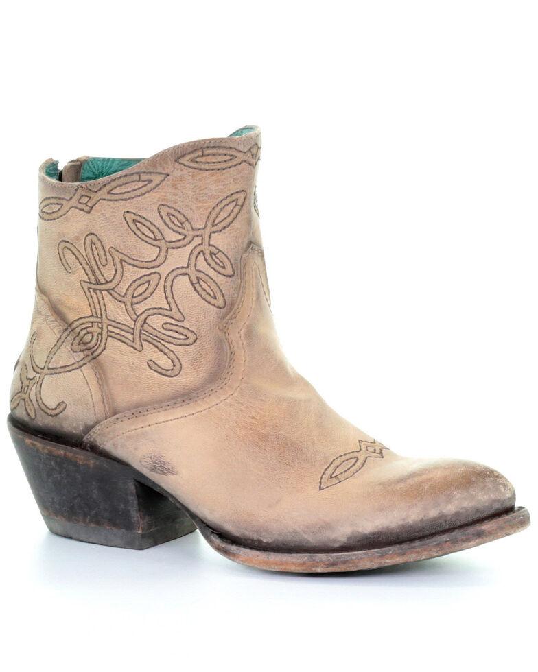 Corral Women's Beige Embroidered Western Fashion Booties - Round Toe , Beige/khaki, hi-res