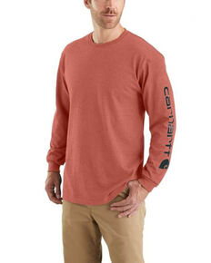 Carhartt Men's Cayenne Heather Signature Sleeve Logo Long Sleeve Work T-Shirt - Tall , Heather Red, hi-res