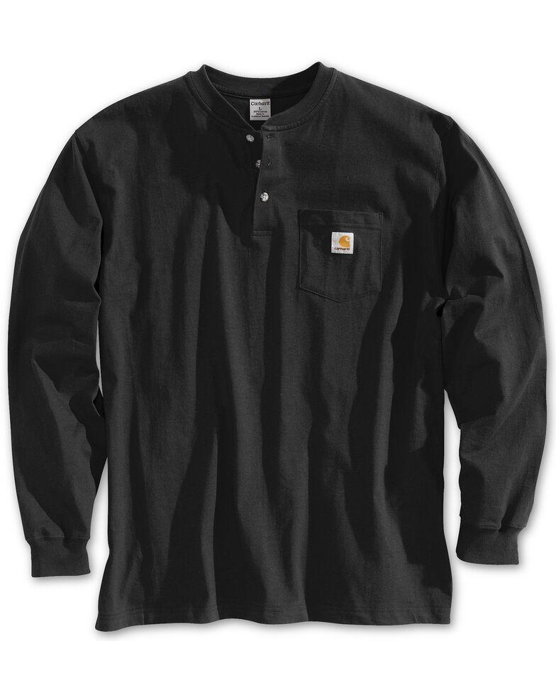 Carhartt Men's Solid Henley Long Sleeve Work Shirt - Big & Tall, Black, hi-res