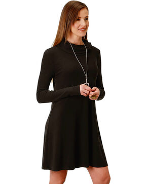 Roper Women's Black Cowl Neck Dress, Black, hi-res
