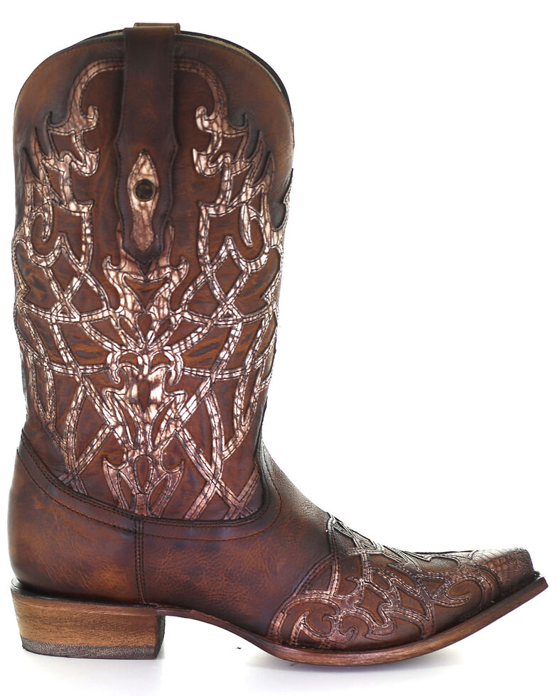 Corral Men's Overlay & Embroidery Western Boots - Snip Toe, Brown, hi-res