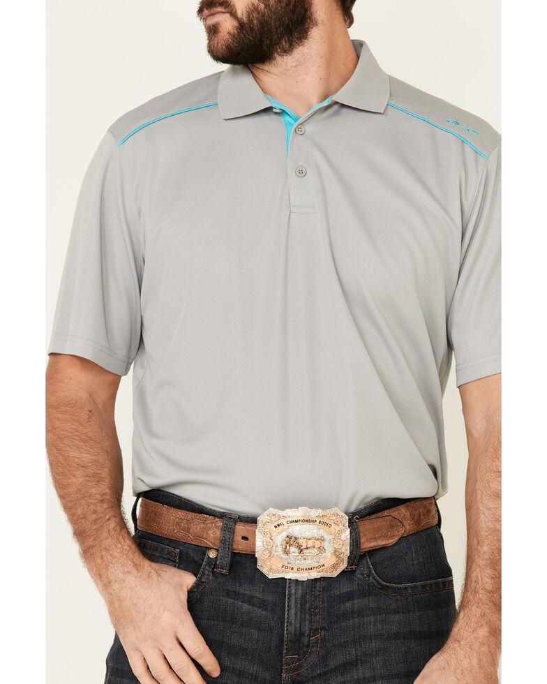 Ariat Men's Silver Lining Tek 2.0 Short Sleeve Polo Shirt , Silver, hi-res