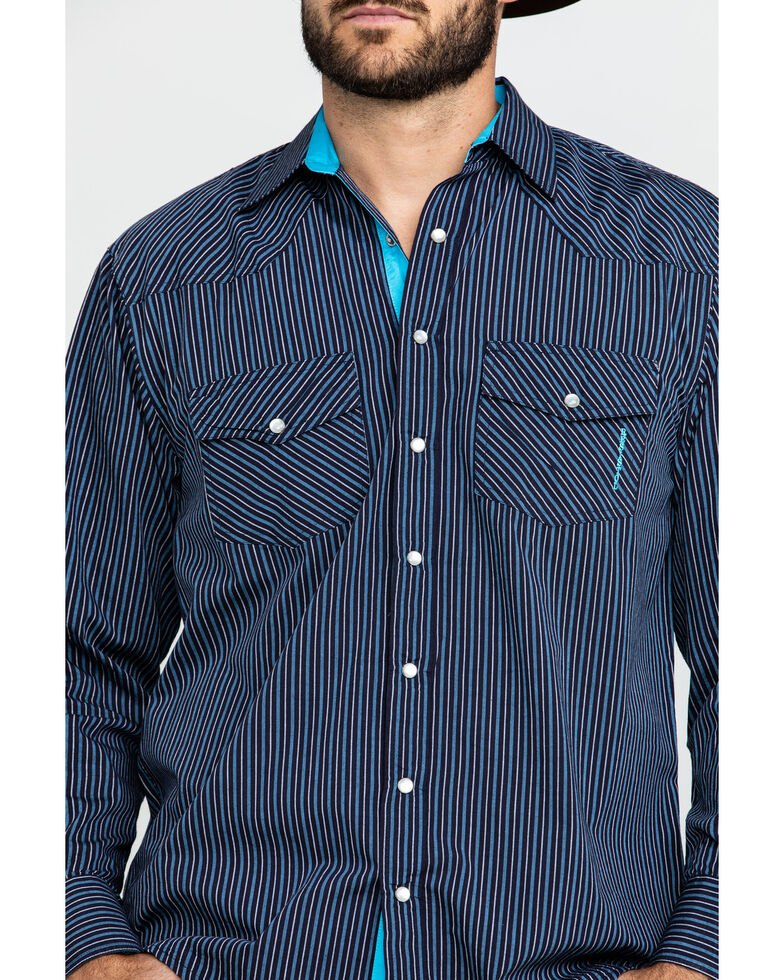 Resistol Men's Windsong Striped Long Sleeve Western Shirt , Navy, hi-res