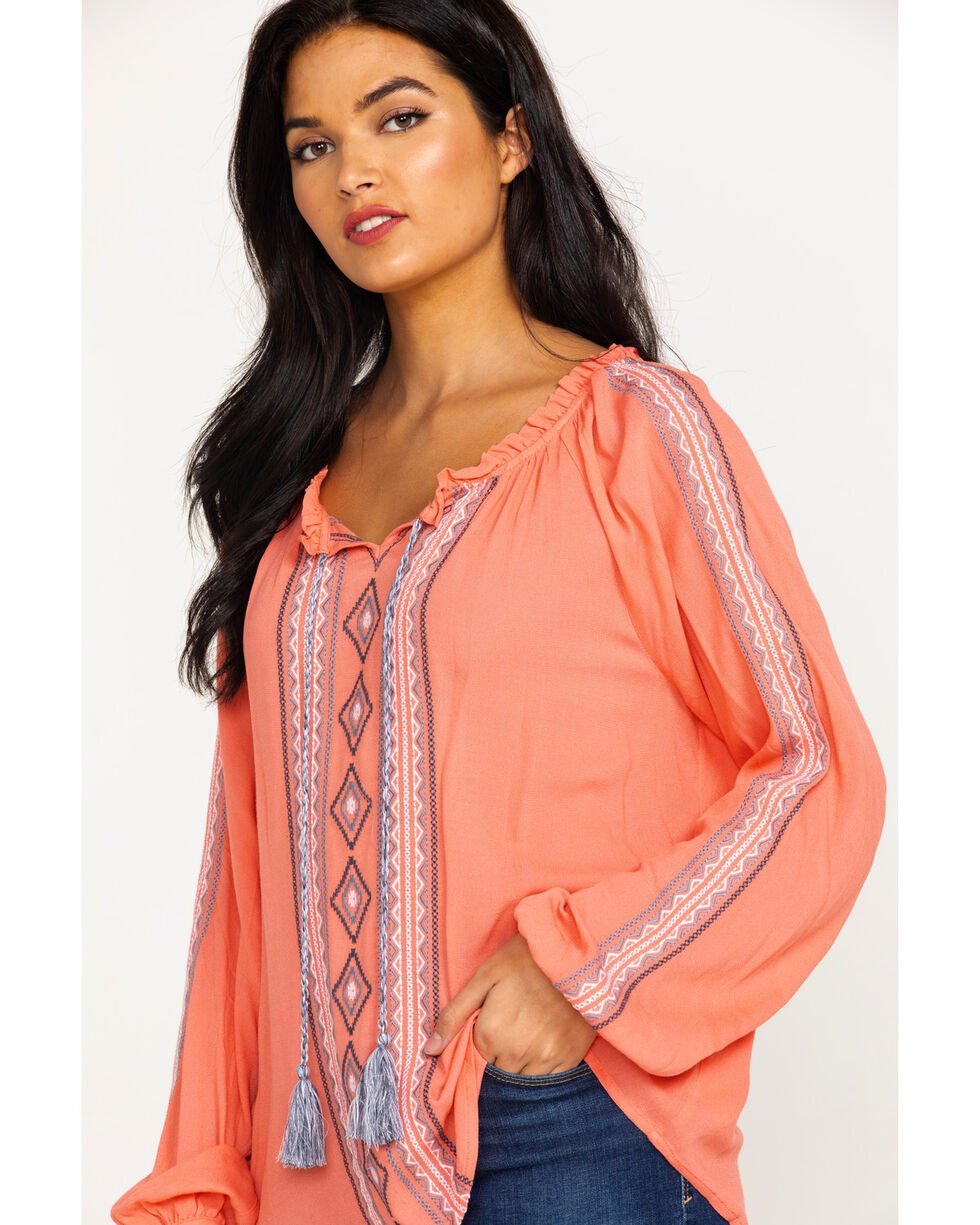 Ariat Women's Hot Springs Top Summer Long Sleeve Top , Peach, hi-res