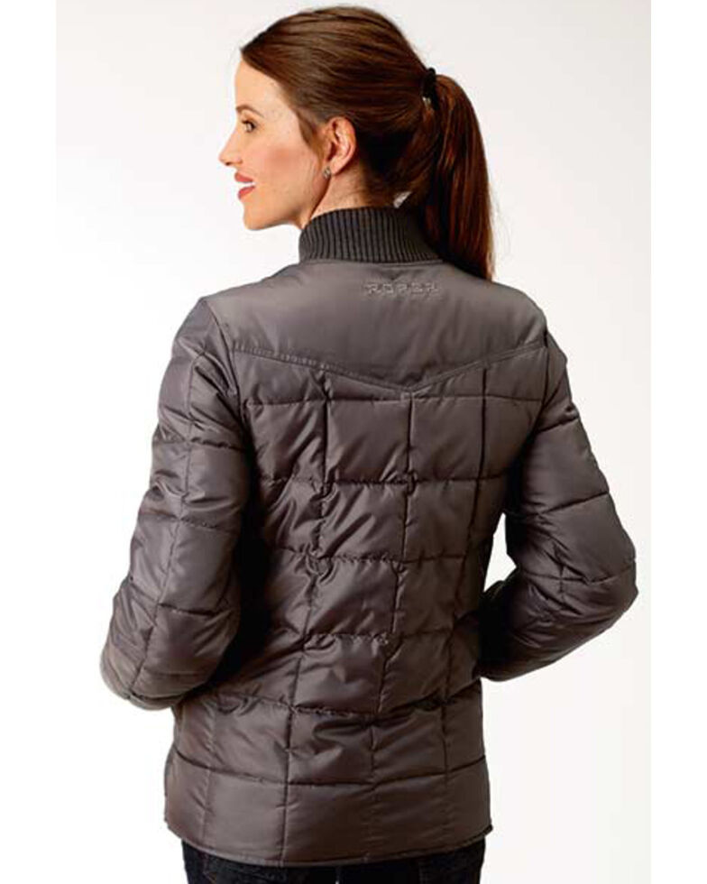 Roper Women's Grey Poly Quilted Jacket , Grey, hi-res