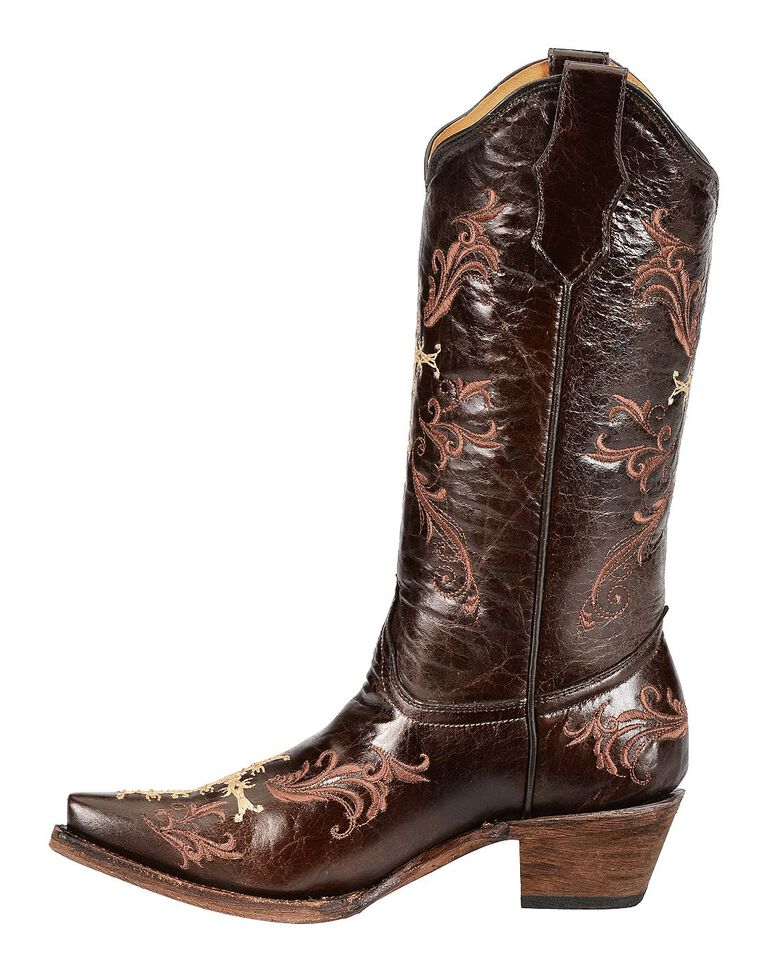 Circle G Women S Diamond Embroidered Cowgirl Boot Square: Circle G Chocolate Cross Embroidered Cowgirl Boots
