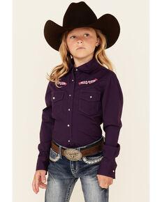 Shyanne Girls' Solid Dark Purple Embroidered Long Sleeve Button-Down Western Shirt, Purple, hi-res