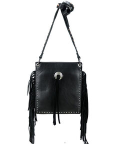 Montana West Women's Leather Fringe Crossbody Bag, Black, hi-res