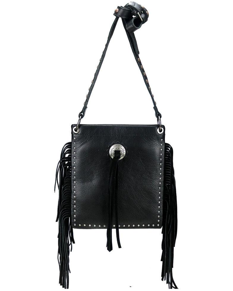 Montana West Women's Leather Fringe Crossbody Bag, Black, hi-res