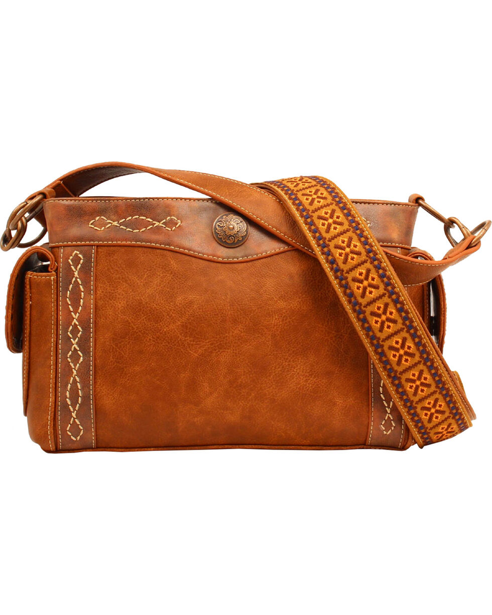 Blazin Roxx Women's Ivy Copper Concho Concealed Carry Satchel, Tan, hi-res