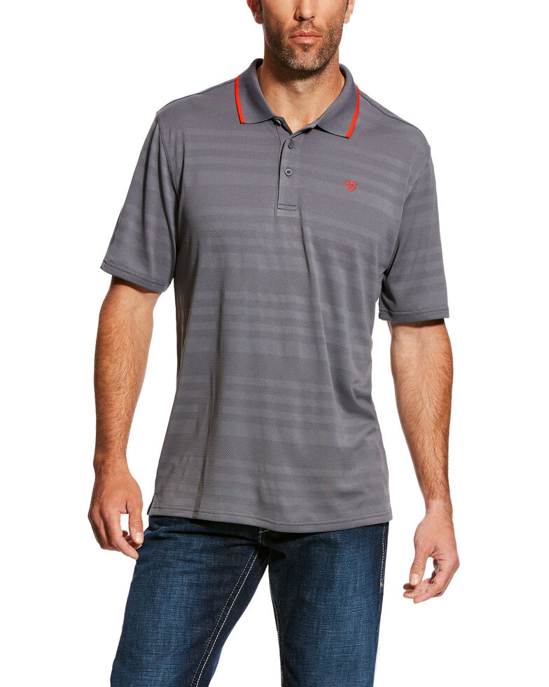 Ariat Men's Grey Edge TEK Striped Polo Shirt , Grey, hi-res