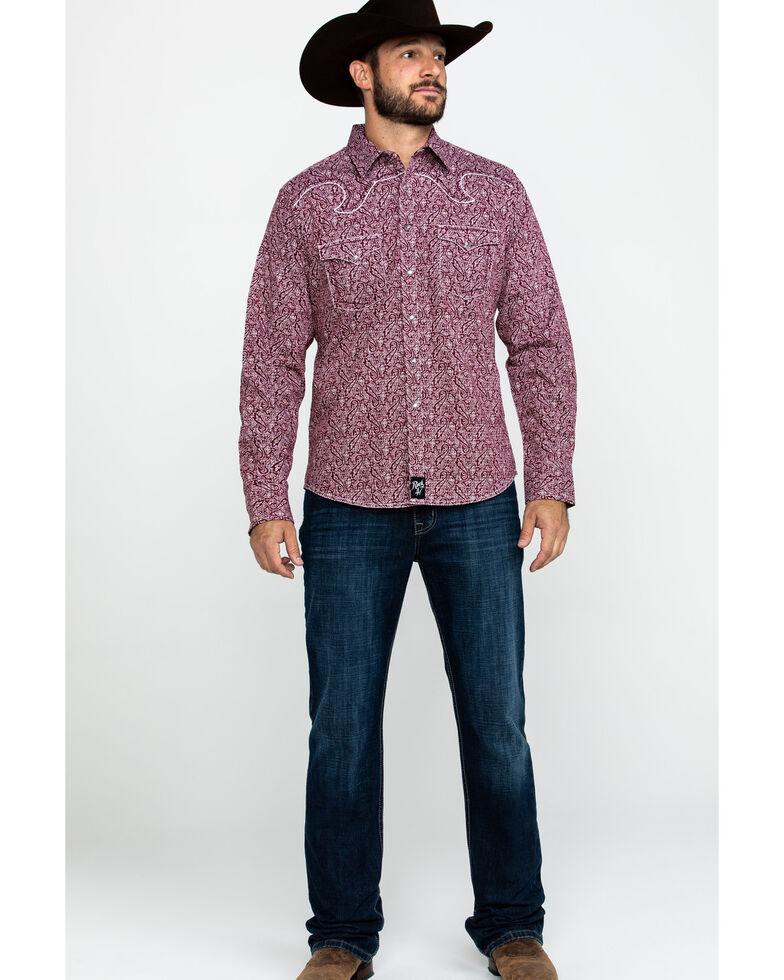 Rock 47 By Wrangler Men's Burgundy Paisley Print Long Sleeve Western Shirt  , Burgundy, hi-res