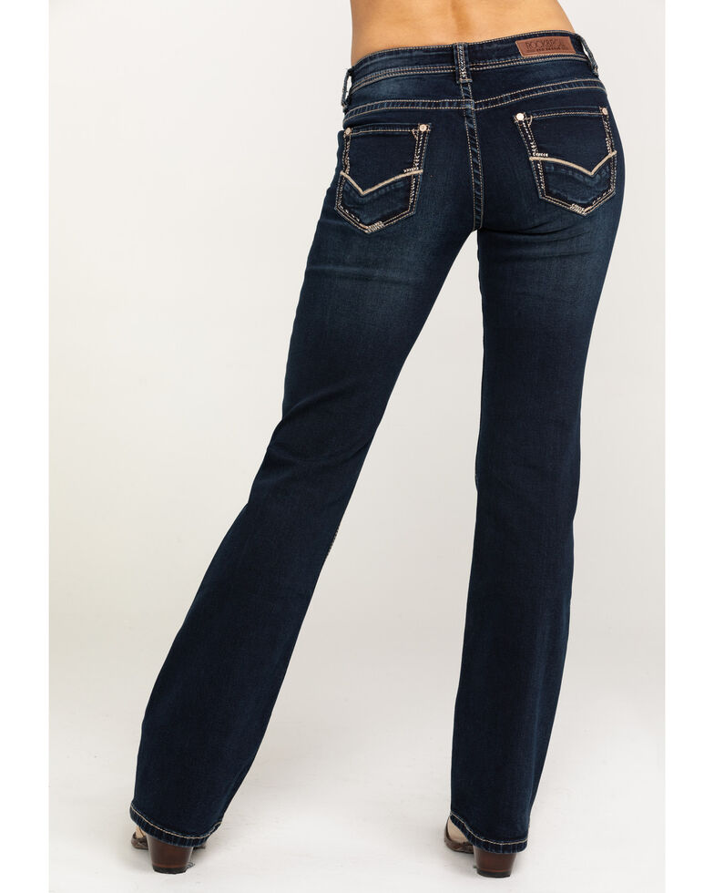 Rock & Roll Cowgirl Women's Dark Wash Low Rise Riding Jeans, Blue, hi-res