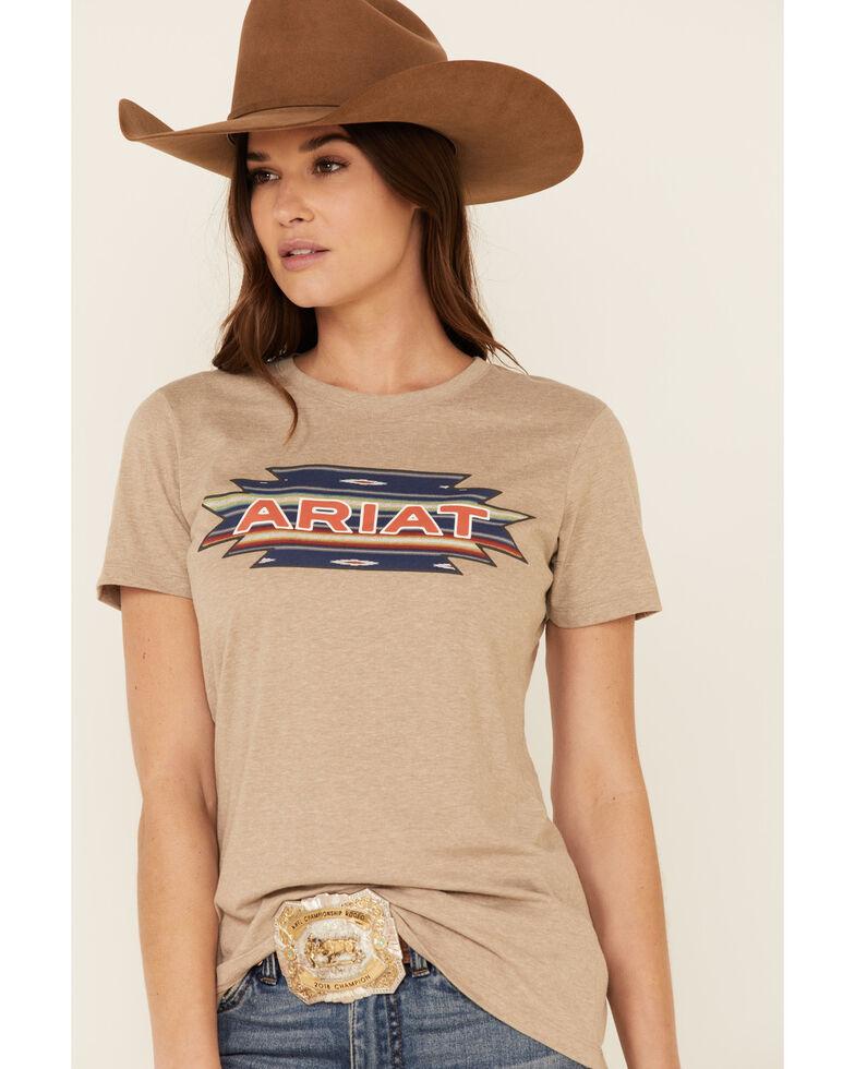 Ariat Women's Oatmeal Santa Fe Aztec Logo Graphic Tee , Oatmeal, hi-res