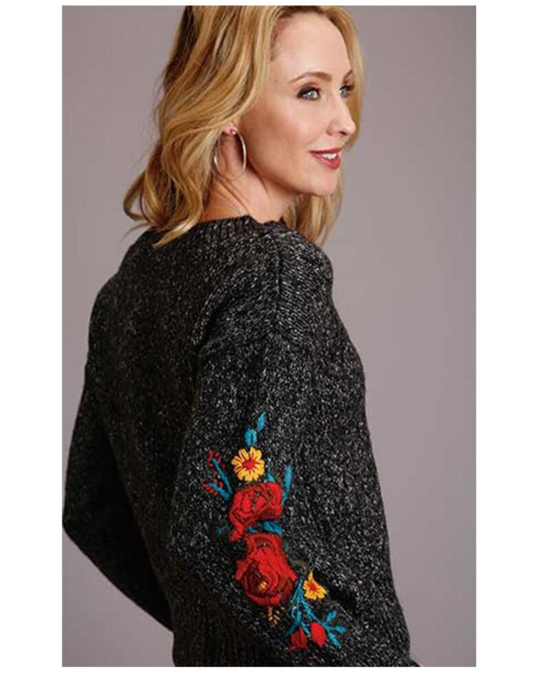 Stetson Women's Floral Embroidered Crew Neck Sweater, Grey, hi-res