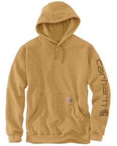 Carhartt Men's Yellowstone Heather Midweight Signature Sleeve Hooded Work Sweatshirt - Big , Yellow, hi-res